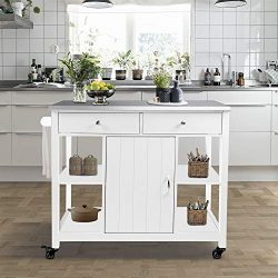 ChooChoo Kitchen Islands on Wheels with Stainless Steel Top, Utility Wood Kitchen Cart with Stor ...