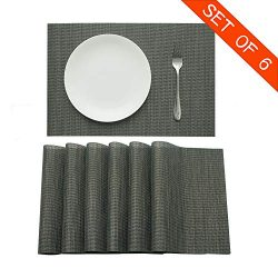 Familighter Placemats for Dining Table Set of 6 Woven Vinyl Washable Table Placemats Table Decor ...