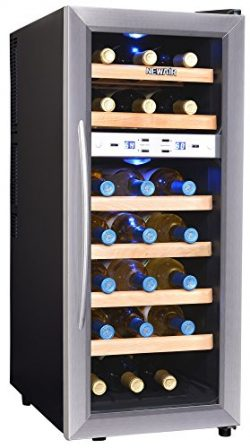 NewAir AW-211ED Streamline 21 Bottle Dual Zone Thermoelectric Wine Cooler, Stainless Steel