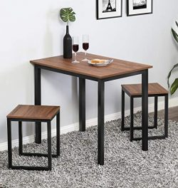 Homury Modern Wood 3 Piece Dining Set Studio Collection Soho Dining Table with Two Stools Home K ...