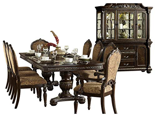 Ragosta European 10PC Dining Set Double Pedestal Table, 2 Arm, 6 Side Chair, Buffet & Hutch  ...