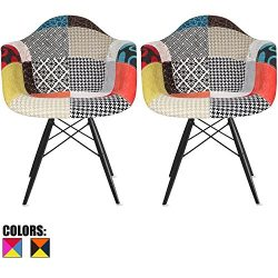 2xhome Set of 2 Multi Color Modern Upholstered Molded Armchair Fabric Chair Patchwork Multi-Patt ...