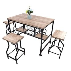 Dporticus 5-Piece Dining Set Industrial Style Wooden Kitchen Restaurant Table and Chairs with Me ...