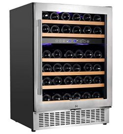 "Aobosi 24"" Wine Cooler Dual Zone 46 Bottle Wine Refrigerator Built in and Freestanding wit ..."