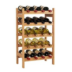HOMECHO 20 Bamboo Wine Display Bottles Storage Rack Free Standing with 5-Tier Shelf Wobble-Free  ...