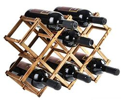 Foldable Wooden Wine Bottle Holder – Natural Wine Shelves – 10 Wine Bottle Storage S ...
