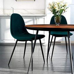 DHP DZ07233 Casi Upholstered, Green Velvet, Set of 2 Dining Chair