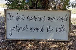Rustic cottage style the best memories are made gathered around the table sign/kitchen dining ro ...