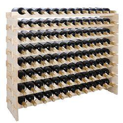 Smartxchoices 96 Bottle Stackable Modular Wine Rack Wooden Wine Storage Rack Free Standing Wine  ...