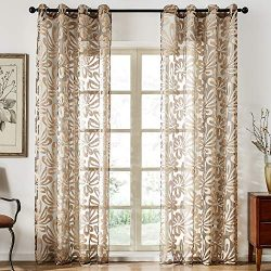 Top Finel Long Floral Curtains for Living Room Bedroom Semi Sheer Window Drapes Grommet, 54&#824 ...