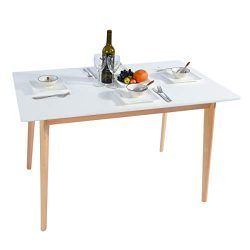 GreenForest Dining Table Mid Century Modern Rectangular Kitchen Leisure Table with Solid Wooden  ...