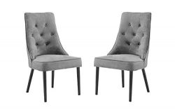 Classic 2 Piece Tufted Button Brush Microfiber Dining Chair (Grey)