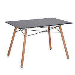 FurnitureR Kitchen Dining Table Modern Table Desk for Dining Room Kitchen Breakfast Nook-Black
