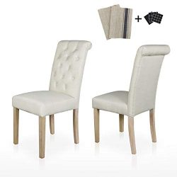 Dining Chairs Set of 2 Fabric Upholstered Lounge Chair Tufted Backrest Padded Solid Wood Legs Ki ...
