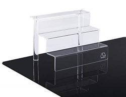 WINKINE 2 Pack Clear Acrylic Riser Display Shelf for Amiibo Funko POP Figures, 3-Tier Cupcakes S ...
