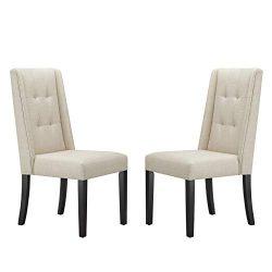Ravenna Home Modern Dining Chair, 38″H, Beige, Set of 2