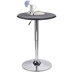 Modern Pub Table Adjustable Height 360 Swivel Round Kitchen Bar Table – Faux Leather top C ...