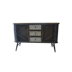 Herrera Buffet in Dark Gray with Metal Base, Three Drawers, Wire Mesh Door Fronts, And Solid Woo ...