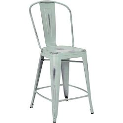 Pioneer Square Corliss 24-Inch Counter-Height Metal Stool with Back Rest, Set of 4, Distressed B ...