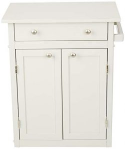 AmazonBasics Classic Solid Rubber Wood Kitchen Cart with Cabinet, Rustic White
