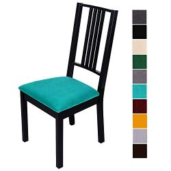 smiry Original Velvet Dining Chair Seat Covers, Stretch Fitted Dining Room Upholstered Chair Sea ...