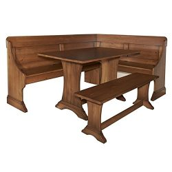 Riverbay Furniture Breakfast Nook Set in Rich Pecan