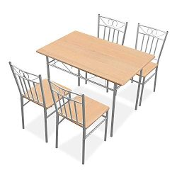 Harper & Bright Designs 5 Pieces Dining Table Set 4 Person Home Kitchen Table and Chairs &#8 ...