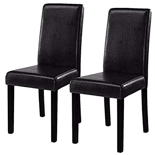 Costway Dining Chairs Elegant Design Leather Modern Dining Chairs Dining Room Kitchen Furniture  ...