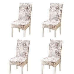 FORCHEER Dining Chair Cover for Dining Room Set 4 Pack Printed Seat Slipcovers for Office Comput ...