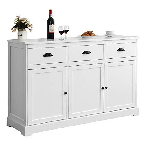 Contemporary Sideboard Buffet Cabinet Kitchen Storage Cupboard Console Table White 3 Drawers Hom ...