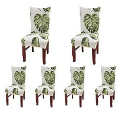 SoulFeel Set of 6 Dining Chair Covers, Stretch Spandex Dining Room Protector Slipcovers (Style 5 ...