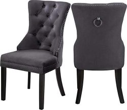 Meridian Furniture 740Grey-C Nikki Dining Chair with Wood Legs, Luxurious Button Tufting, and Ch ...