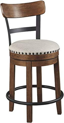 Ashley Furniture Signature Design – Valebeck Upholstered Swivel Barstool – Casual St ...