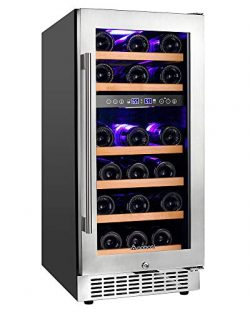 "【Upgraded】Aobosi 15"" Wine Cooler Dual Zone 28 Bottle Freestanding and Built-in Wine Refr ..."