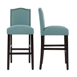 LSSBOUGHT Nailhead Barstools with Solid Wood Legs, Set of 2(Laguna)