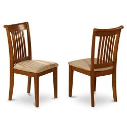 East West Furniture POC-SBR-C Slat Back Chair Set for Kitchen with Upholstered Seat, Set of 2