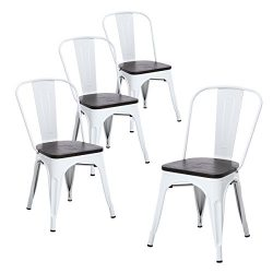 Buschman Set of Four Matte White Wooden Seat Metal Indoor/Outdoor Stackable Chairs with Back