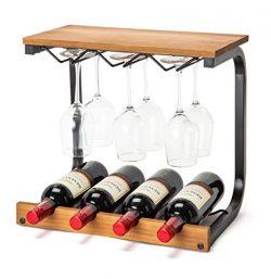 Soduku Wine Rack Wall Mounted Handmade Metal & Wood Wine Countertop Rack Wine Storage Shelf  ...