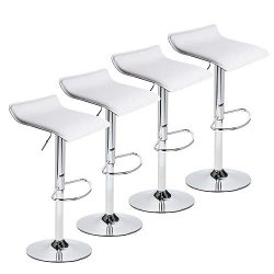 PULUOMIS Contemporary Chrome Air Lift Adjustable Swivel Stools, Set of 4, White