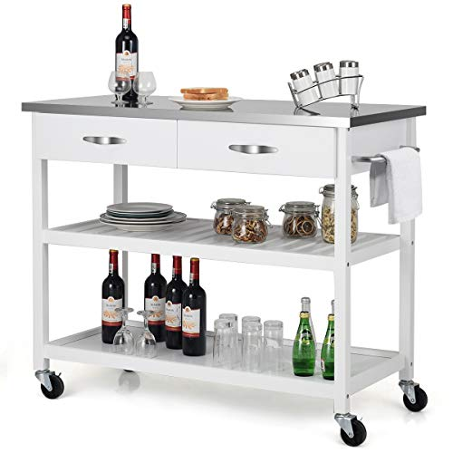 Giantex Kitchen Trolley Cart Rolling Island Cart Serving Cart Large Storage with Stainless Steel ...