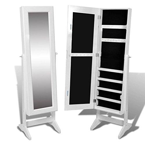 vidaXL White Mirrored Jewelry Cabinet Armoire Mirror Organizer Storage Box Free Stand