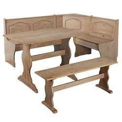 Simple Interior 3 Piece Breakfast Nook Dining Set – Solid Wood Table and 2 Benches – ...