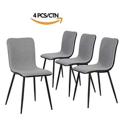Set of 4 Kitchen-Dining Chairs, Assemble All 4 in 5 Minutes, Grey Ventilate Fabric Cushion, Blac ...