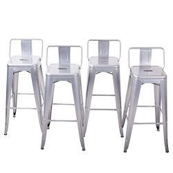 Belleze Counter 24″ Height Stool w/Low Backrest Kitchen Home Silver Chair, Set of 4