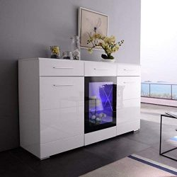 Mecor LED Sideboard Buffet Cabinet Server Table Storage with 3 Door/2 Drawers,Kitchen Dining Roo ...