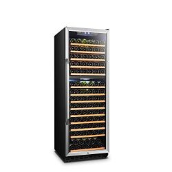 LANBO Wine Cellar Refrigerator, 160 Bottle Dual Zone Compressor Red Wine Cooler, Black and Stain ...