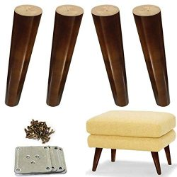 Wood Sofa Legs 8 inch Pack of 4 Walnut Finished Furniture Feet Replacement Legs Universal for Co ...