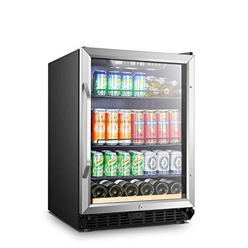 LANBO Beverage Cooler Refrigerator, 110 Cans 6 Bottles Built-in Compressor Drink Fridge with Dou ...