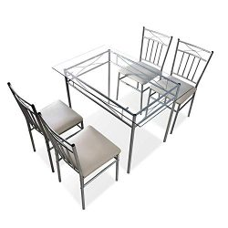 Harper & Bright Designs 5 PCS Dining Table Set 4 Person Kitchen Glass Top Dining Table and C ...