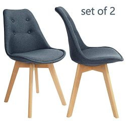 GreenForest Kitchen Chairs Set of 2 Modern Fabric Dining Side Chairs Eames Style Accent Leisure  ...